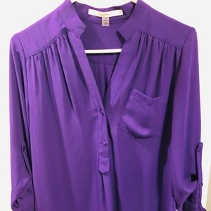 41Hawthorn purple 3/4 sleeve blouse Size S